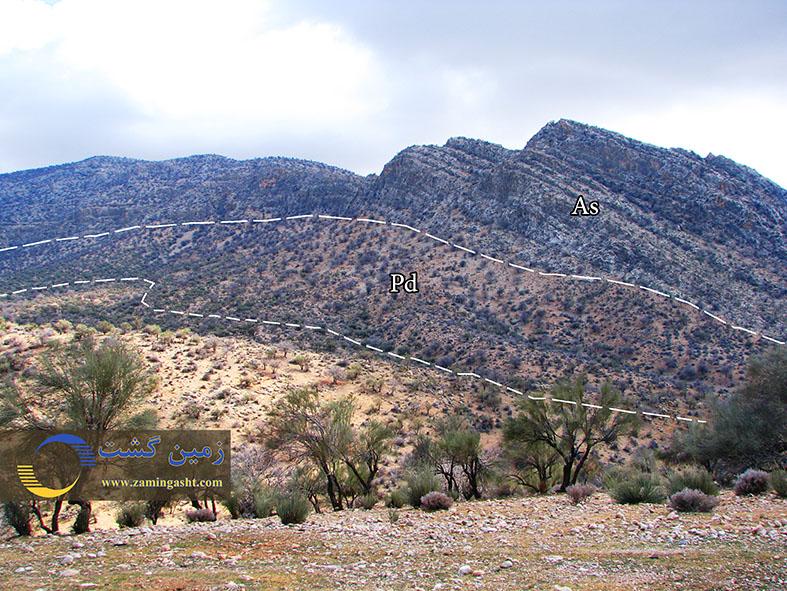 توالی رسوبی پابده و آسماری در استان فارس، جنوب کوار - سنگ آهک های ستبر لایه آسماری بر روی مارن و شیل های سازند پابده نشسته اند.